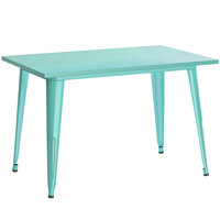 Lancaster Table & Seating Alloy Series 48 inch x 30 inch Seafoam Dining Height Outdoor Table