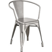 Lancaster Table & Seating Alloy Series Clear Coated Metal Indoor Industrial Cafe Arm Chair
