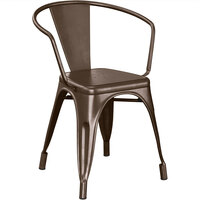Lancaster Table & Seating Alloy Series Copper Metal Indoor / Outdoor Industrial Cafe Arm Chair