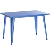 Lancaster Table & Seating Alloy Series 48 inch x 30 inch Blue Dining Height Outdoor Table