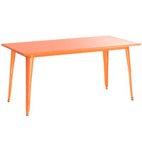 Lancaster Table & Seating Alloy Series 63 inch x 32 inch Orange Dining Height Outdoor Table