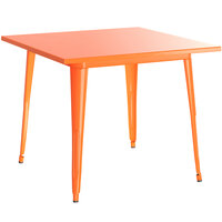 Lancaster Table & Seating Alloy Series 32 inch x 32 inch Orange Dining Height Outdoor Table