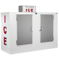 Leer 100AS-R290 94 inch Outdoor Auto Defrost Ice Merchandiser with Straight Front and Stainless Steel Doors