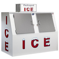Leer 60ASL-R290 73 inch Outdoor Auto Defrost Ice Merchandiser with Slanted Front and Stainless Steel Doors