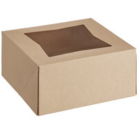 Baker's Mark 6 inch x 6 inch x 3 inch Kraft Auto-Popup Window Bakery Box   - 200/Bundle