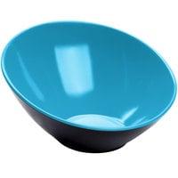 GET B-792-BL/BK Brasilia 24 oz. Blue and Black Slanted Melamine Bowl - 6/Case
