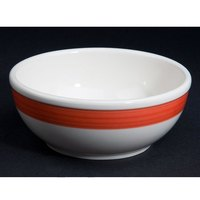 CAC R-18-R Rainbow 15 oz. Red Rolled Edge Stoneware Nappie Bowl - 36/Case
