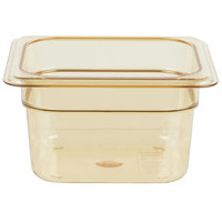 Carlisle 3088413 StorPlus 1/6 Size Amber High Heat Food Pan - 4 inch Deep