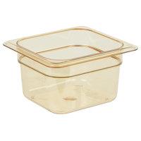 Carlisle 3088413 StorPlus 1/6 Size Amber High Heat Food Pan - 4 inch Deep