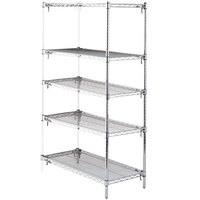 Metro 5AA537C Stationary Super Erecta Adjustable 2 Series Chrome Wire Shelving Add On Unit - 24 inch x 36 inch x 74 inch