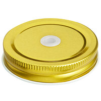 Acopa Rustic Charm Gold Metal Drinking Jar Lid with Straw Hole - 12/Pack