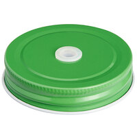 Acopa Rustic Charm Green Metal Drinking Jar Lid with Straw Hole - 12/Pack