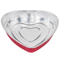 Durable Packaging 9701V Heart Shaped Foil Bake Pan - 10/Pack