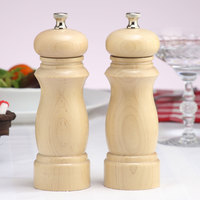 Chef Specialties 06202 Professional Series 6 inch Customizable Salem Natural Finish Pepper Mill and Salt Mill Set