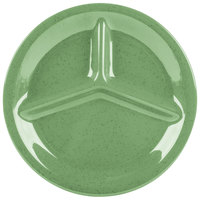 GET CP-10-FG Diamond Mardi Gras 10 1/4 inch Rainforest Green Three Compartment Melamine Plate - 12 / Case