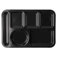 Carlisle 61403 10 inch x 14 inch Black ABS Plastic Left Hand 6 Compartment Tray
