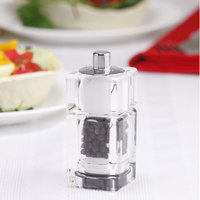 Chef Specialties 01550 3 1/2 inch Customizable Cubic Acrylic Pepper Mill / Salt Shaker Combo