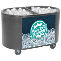 IRP Gray Texas Tanker 1060 Portable Insulated Ice Bin / Beverage Cooler / Merchandiser with Two Compartments 256 Qt.