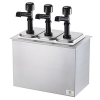Server SB-3DI 79820 Cold Station Drop-In Condiment Dispenser with 3 Jars and 3 Solution Pumps