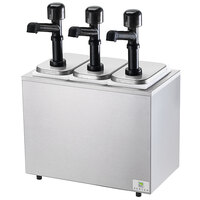 Server SB-3 79810 Cold Station Countertop Condiment Dispenser with 3 Jars and 3 Solution Pumps
