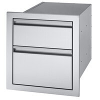 Crown Verity CV-2D1 16 7/8 inch Built-In Stainless Steel 2 Drawer Storage Compartment