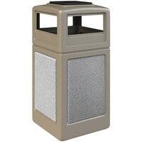 Commercial Zone 720518K StoneTec 42 Gallon Beige Trash Receptacle with Ashtone Panels and Ashtray Dome Lid