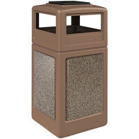 Commercial Zone 720542K StoneTec 42 Gallon Nuthatch Trash Receptacle with Riverstone Panels and Ashtray Dome Lid