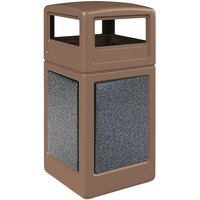 Commercial Zone 720440K StoneTec 42 Gallon Nuthatch Trash Receptacle with Pepperstone Panels and Dome Lid