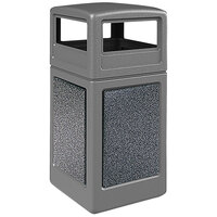 Commercial Zone 72044899K StoneTec 42 Gallon Gray Trash Receptacle with Pepperstone Panels and Dome Lid