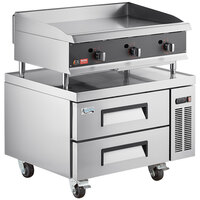 Cooking Performance Group 36N Ultra Series 36 inch Heavy-Duty Chrome Plated Natural Gas 3-Burner Countertop Griddle and 2 Drawer Refrigerated Base - 90,000 BTU