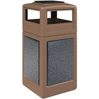 Commercial Zone 720540K StoneTec 42 Gallon Nuthatch Trash Receptacle with Pepperstone Panels and Ashtray Dome Lid