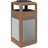 Commercial Zone 720541K StoneTec 42 Gallon Nuthatch Trash Receptacle with Ashtone Panels with Ashtray Dome Lid