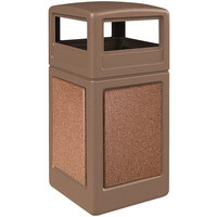 Commercial Zone 720444K StoneTec 42 Gallon Nuthatch Trash Receptacle with Sedona Panels and Dome Lid