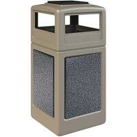Commercial Zone 720517K StoneTec 42 Gallon Beige Trash Receptacle with Pepperstone Panels and Ashtray Dome Lid
