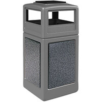 Commercial Zone 72054899K StoneTec 42 Gallon Gray Trash Receptacle with Pepperstone Panels and Ashtray Dome Lid
