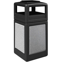 Commercial Zone 720520K StoneTec 42 Gallon Black Trash Receptacle with Ashtone Panels and Ashtray Dome Lid
