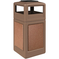Commercial Zone 720544K StoneTec 42 Gallon Nuthatch Trash Receptacle with Sedona Panels and Ashtray Dome Lid