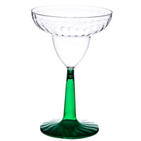 Fineline Flairware 2312-GRN 12 oz. 2-Piece Margarita Plastic Glass With Green Base   - 12/Pack
