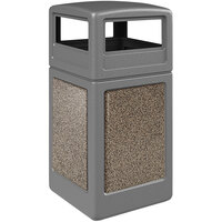 Commercial Zone 720445K StoneTec 42 Gallon Gray Trash Receptacle with Riverstone Panels and Dome Lid