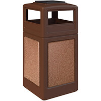 Commercial Zone 720525K StoneTec 42 Gallon Brown Trash Receptacle with Sedona Panels and Ashtray Dome Lid