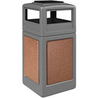 Commercial Zone 720547K StoneTec 42 Gallon Gray Trash Receptacle with Sedona Panels and Ashtray Dome Lid