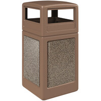 Commercial Zone 720442K StoneTec 42 Gallon Nuthatch Trash Receptacle with Riverstone Panels and Dome Lid