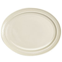 Homer Laughlin 3537000 Gothic 13 1/8 inch x 10 1/2 inch Ivory (American White) Undecorated Oval China Platter - 12/Case