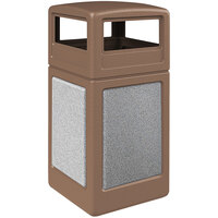 Commercial Zone 720441K StoneTec 42 Gallon Nuthatch Trash Receptacle with Ashtone Panels and Dome Lid