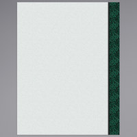 8 1/2 inch x 11 inch Menu Paper Right Insert - Green Woven Border - 100/Pack
