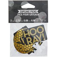 Creative Converting 339565 Gold Sequin Yay, Hooray! Cupcake Pick Set - 12/Set