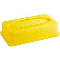 Lavex Janitorial Yellow Slim Rectangular Trash Can Drop Shot Lid
