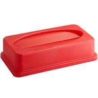 Lavex Janitorial Red Slim Rectangular Trash Can Drop Shot Lid