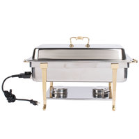 Vollrath 46045 9 qt. Classic Brass Trim Chafer Full Size Electric 120V-Receptacle on Short Side