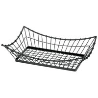 Tablecraft GM2113 Grand Master Rectangular Black Metal Basket - 21 inch x 13 inchx 5 1/2 inch